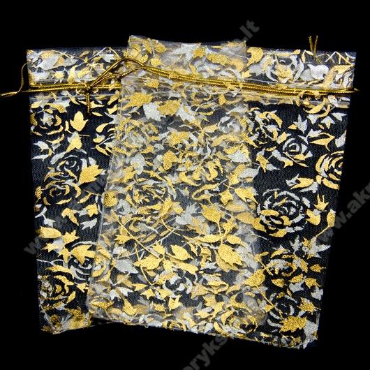 Organzos maišelis baltas su auksinių rožių ornamentu 11x15 cm