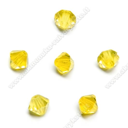 Čekiškas stiklas geltonas dvipusio konuso formos 4 mm