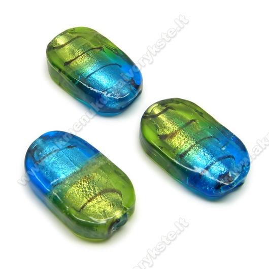 Lampwork stiklas mėlynai žalias 26 mm