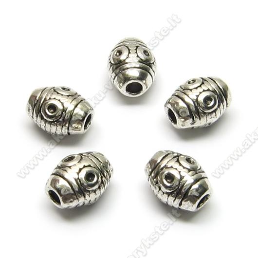 Tibeto sidabro intarpai statinaitės formos 8 mm