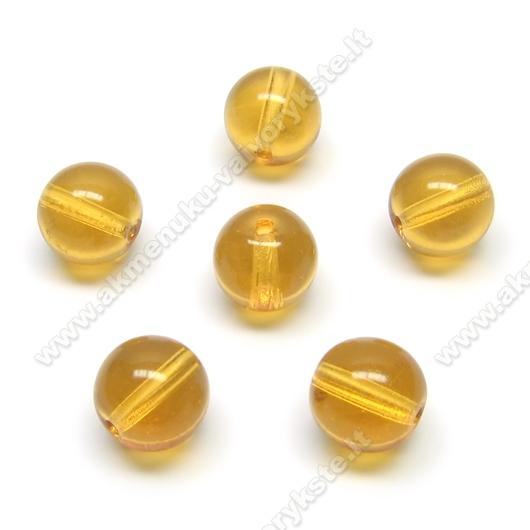 Gintaro spalvos stiklas rutuliuko formos 10 mm