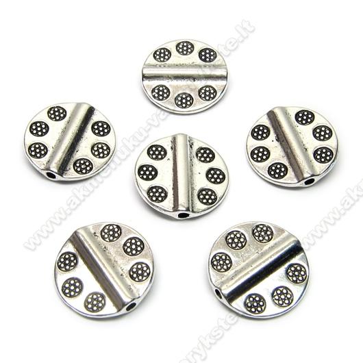 Tibeto sidabro intarpai diskelio formos su įspaustomis gėlytėmis 13 mm