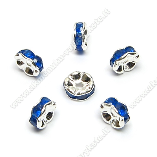 Intarpai su mėlyno stiklo akutėmis 6 mm