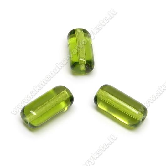 Stiklas žalias vamzdelio formos 13x7 mm