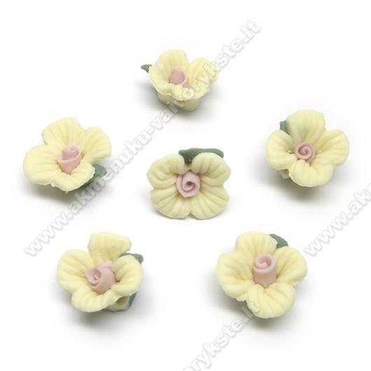 Geltonos keramikinės gėlytės 12 mm