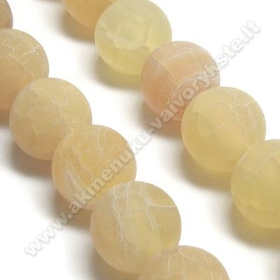 Medaus spalvos natūralus matinis agatas 10 mm karoliukų juosta