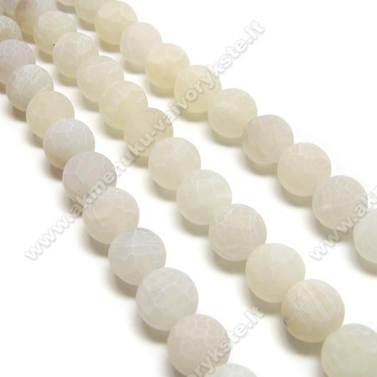 Baltos spalvos natūralus matinis agatas karoliukų juosta