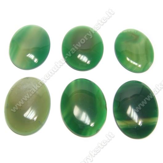Natūralaus žaliojo agato ovalinis kabošonas