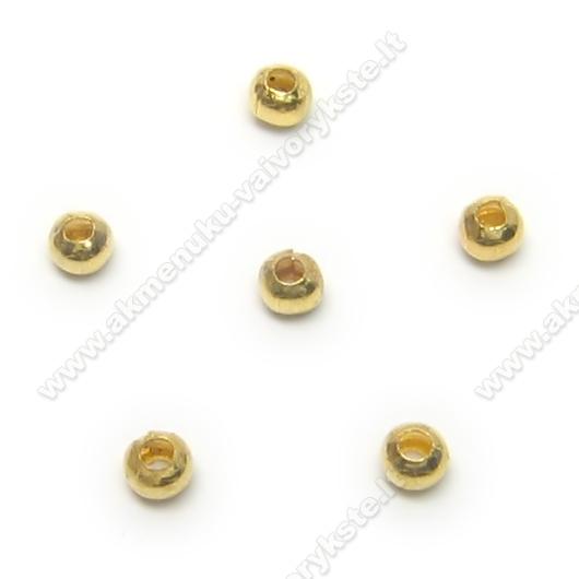 Aukso spalvos metaliniai karoliukai 2mm