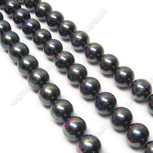 Kriauklės perlai tamsios metalinės spalvos blizgūs perlamutriniai 8 mm