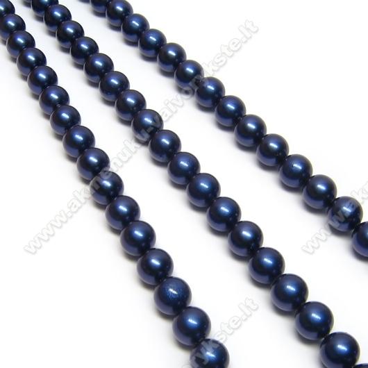 Kriauklės perlai tamsiai mėlyni 6 mm.