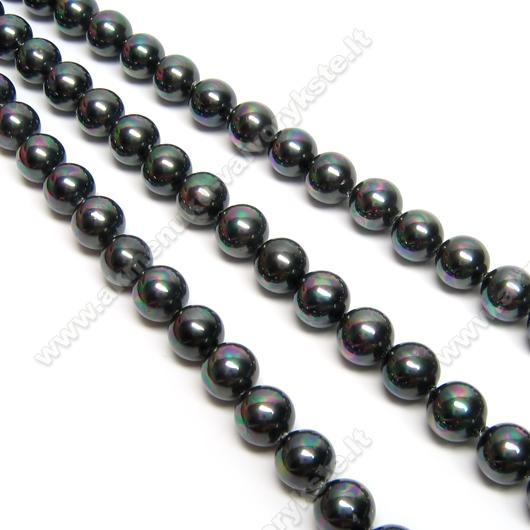 Kriauklės perlai tamsios metalinės spalvos blizgūs perlamutriniai 6 mm