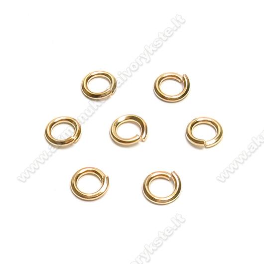 Aukso spalvos viengubas kirstas žiedelis 4 mm - 50 vnt.