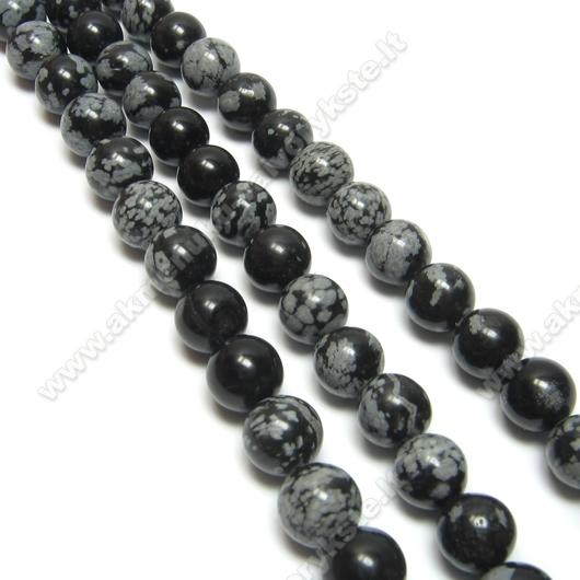 Natūralaus Snaiginio obsidiano karoliukai 8 mm.
