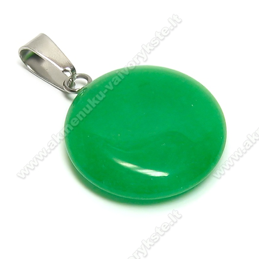 Natūralaus žadeito ryškios žalios spalvos pakabutis