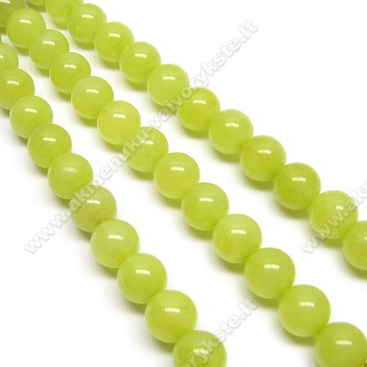 Žadeitas žalios alyvuogės spalvos apskritas 8 mm.
