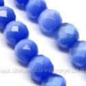 Katės akis skaisčiai mėlyna facetuota 12 mm