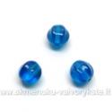Briaunuotas stiklo karoliukas mėlynas su vaivorykštine danga 6 mm