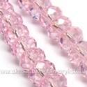 Facetuoto stiklo rondelės rožinės spalvos 8x6 mm