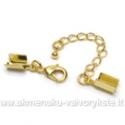 Užsegimas su grandinėle ir plačiais užspaudimais aukso spalvos