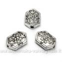 Tibeto sidabro intarpai šešiakampiai su gėlytėmis 11x8 mm
