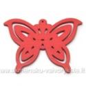 Medinis pakabukas - peteliškė raudona 4,4x6 cm