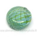 Pūstas stiklas žalsvas su juostelėmis plokščio ovalo formos 18x7 mm