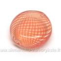 Pūstas stiklas rausvomis juostelėmis plokščio ovalo formos 18x7 mm