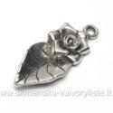 Pakabutis lapas su rožės žiedeliu formos 33 mm