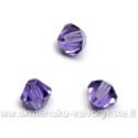 Čekiškas stiklas violetinis dvipusio konuso formos 4 mm