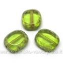 Žalio stiklo karoliukas margintais kraštais stačiakampio formos 14x12 mm