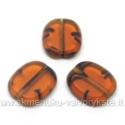Gintaro spalvos margas stiklo karoliukas matiniais kraštais stačiakampio formos 14x12 mm