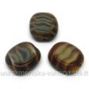 Rudas margas stiklo karoliukas matiniais kraštais stačiakampio formos 14x12 mm