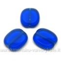 Mėlynas stiklo karoliukas matiniais kraštais stačiakampio formos 14x12 mm