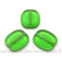 Žalio stiklo karoliukas matiniais kraštais stačiakampio formos 14x12 mm