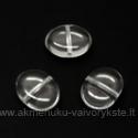Ovalinis skaidrus stiklinis karoliukas 10x12 mm