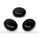 Ovalinis juodas stiklinis karoliukas 10x12 mm