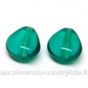 Stiklas persiškos žalios spalvos trikampio ovalo formos 12x11 mm