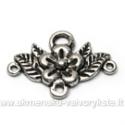 Tibeto sidabro sujungimas-paskirstytojas žiedo su lapeliais formos 31x22 mm