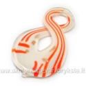 Lampwork stiklo pakabukas aštuoneto formos oranžiniai margintas 60 mm