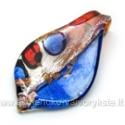 Lampwork stiklo pakabukas mėlynai raudonas 35x64 mm
