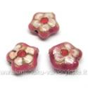 Cloisonne karoliukai rausvi gėlytės formos 16 mm