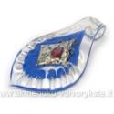 Lapo formos stiklinis pakabukas su folija mėlynas 67x39 mm