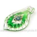 Lapo formos stiklinis pakabukas su folija žalias 67x39 mm