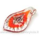 Lapo formos stiklinis pakabukas su folija oranžinis 67x39 mm