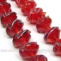 Lampwork gėlytė raudonos spalvos 14 mm