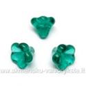 Persiškai žalia stiklinė kepurėlė - gėlytė 10x12 mm