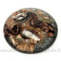 Rankų darbo disko formos lampwork stiklo pakabutis su aukso ir sidabro dulkėmis, juodos spalvos 50 mm
