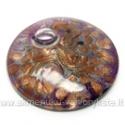 Rankų darbo disko formos lampwork stiklo pakabutis su aukso ir sidabro dulkėmis, alyvinės spalvos 50 mm