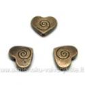 Sendinto žalvario spalvos širdelės formos intarpas 9x11 mm